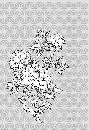 Line drawing of flowers -11