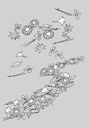 Line drawing of flowers -14