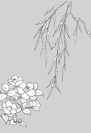 Line drawing of flowers -16