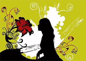 Flower and women vector material