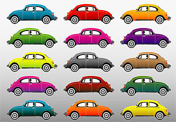 Colorful classic cars vector material