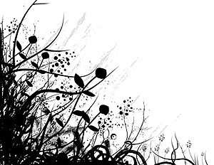 Black and white fashion Vector plant material