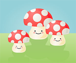 Lovely mushroom vector material