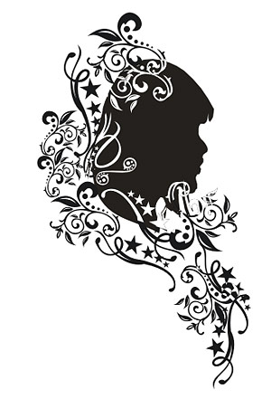 Vector with the pattern portrait of women