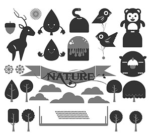Cute cartoon animals and trees vector material