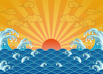 The sun, waves, Xiangyun vector material