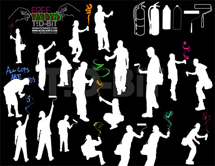 Vector material spray-painted figures