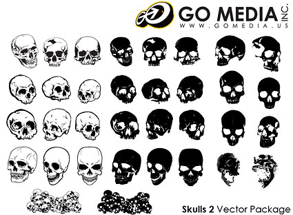 Go Media produced vector material - Multi-angle skull