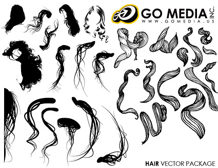 Go Media produced vector material - Women hair Series