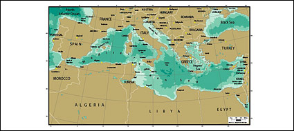 Vector map of the world - the Mediterranean map