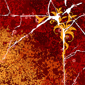 Vector material cracks and flowers