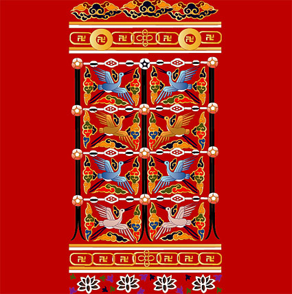 Classical Chinese crane with auspicious designs