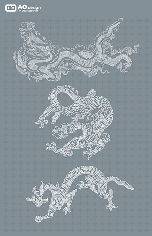 Classical Chinese dragon logo Line