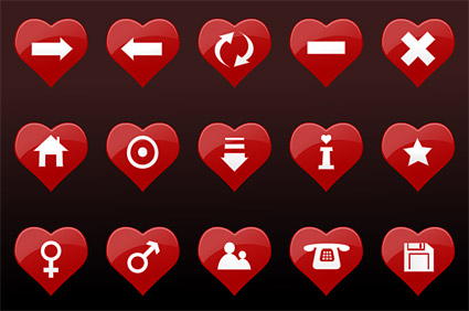 Red heart-shaped icon vector material