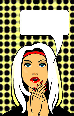 Dynamic female comic style vector material