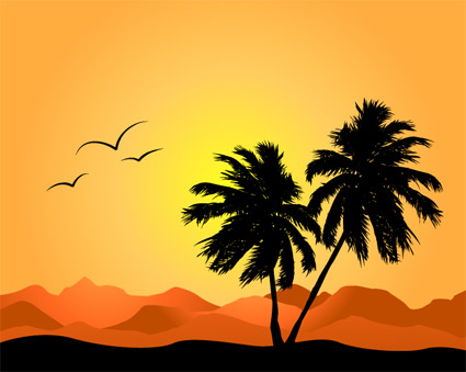 Coconut trees and mountains vector