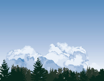 Vector forest sky clouds