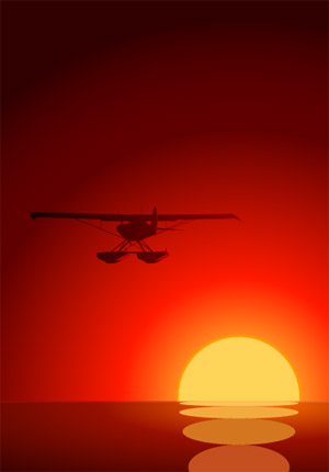 aircraft under the Sunset vector material