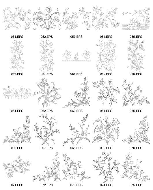 Flower type of line drawing vector diagram-3