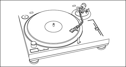 Plastic disc player line drawing vector material