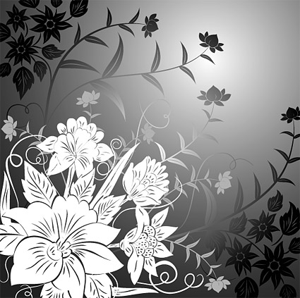Flowers line drawing vector material