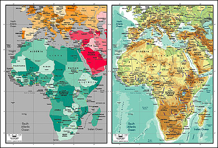 Vector map of the world exquisite material - Map of Africa