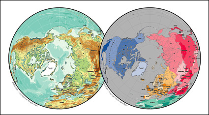 Vector map of the world exquisite material - the northern hemisphere spherical map