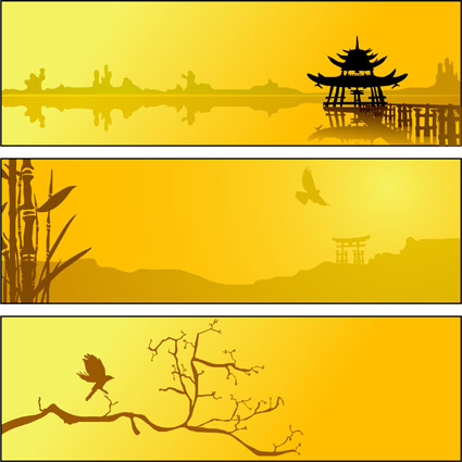Summer lake scenery vector material