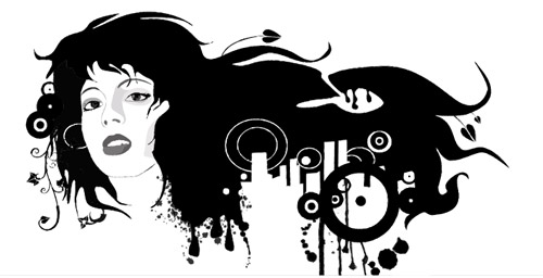 Female black and white portrait of the trend vector material