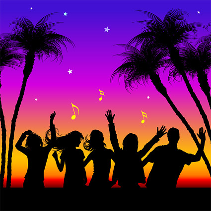 People enjoy the music of the City of Life in Pictures vector material