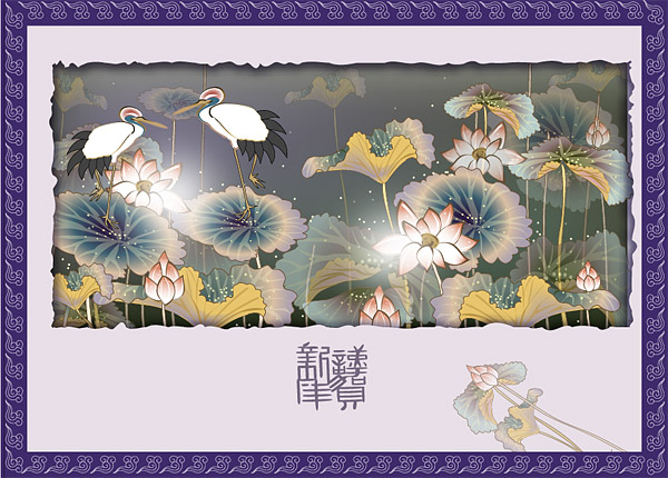 Classical auspicious vector of material - Crane Lotus plans