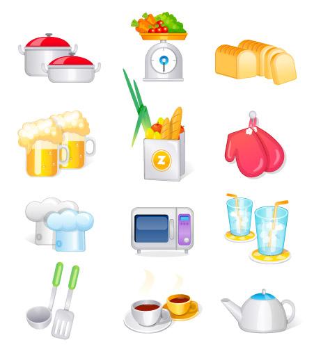 Kitchen supplies, kitchen utensils vector icon