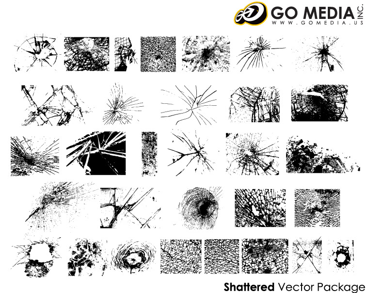 Go Media produced vector material - glass cracks