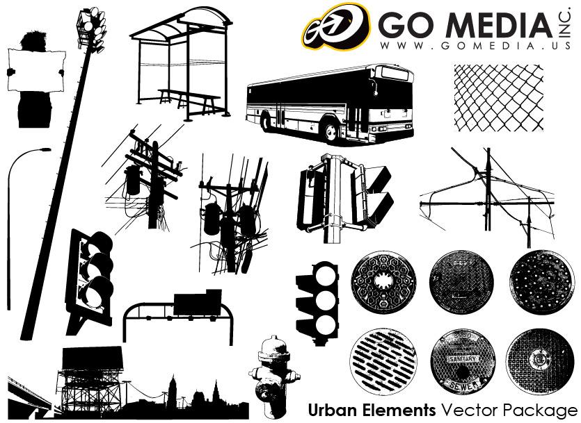Go Media produced vector material - urban public facilities