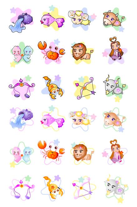 12 Constellation cartoon icon