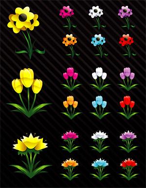 Crystal cartoon style flower