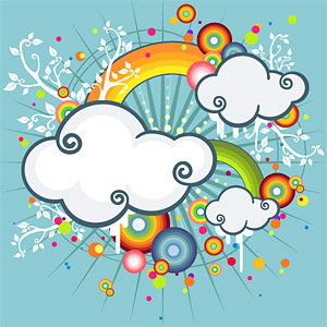 Rainbow, clouds trend illustrations