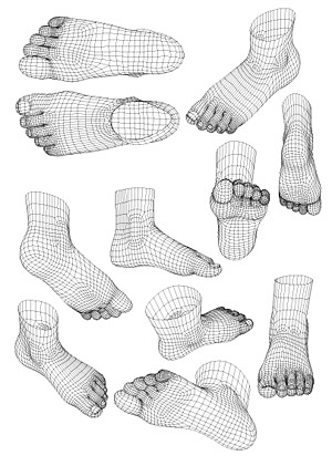 3d model of human feet vector style material