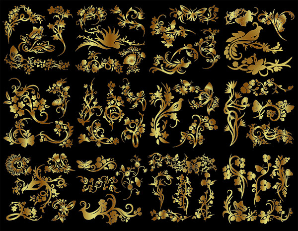 Number of golden flowers and birds butterfly pattern