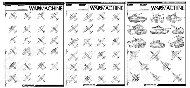 Line drawing fighter jets and tanks