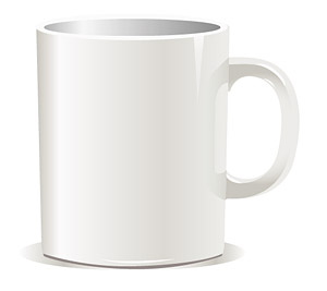 Vector material white coffee mug