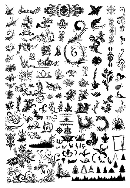 Hundreds of patterns, insects, trees and other vector material