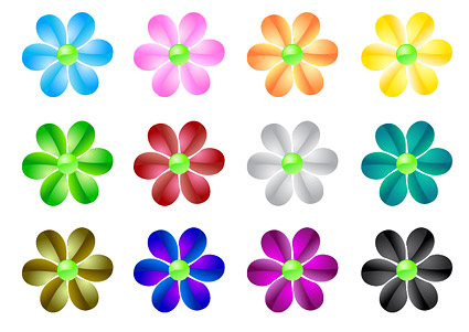 web2.0 crystal flowers vector material