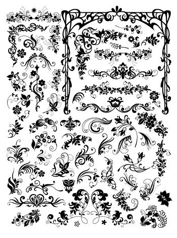 Continental number of black-and-white pattern vector material fashion