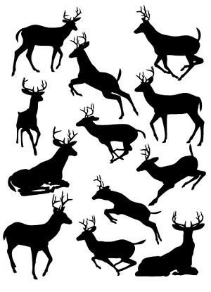 Deer silhouettes vector material