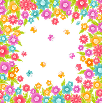 The colourful flowers vector small crystal material