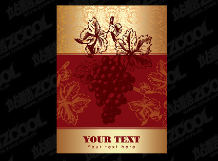 Vector material posted on wine bottles
