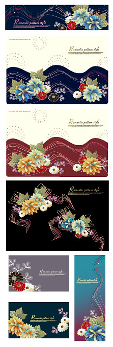 Fashion and flowers line vector material