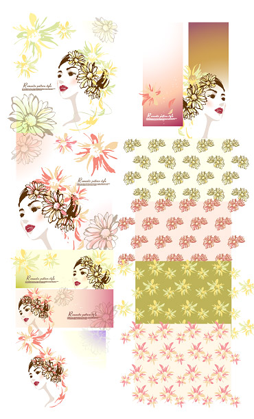 Women with flowers vector material
