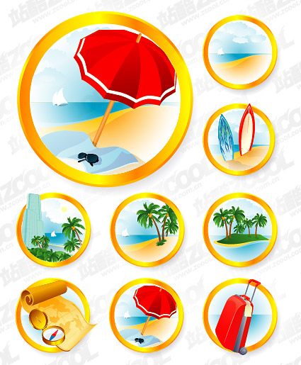 The seaside resort icon vector material